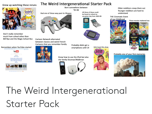 The Magic School Bus: The Weird Intergenerational Starter Pack  Grew up watching these reruns  Born somewhere between  Older redditors creep them out  nioxelodeon  '95-98  Younger redditors are hard to  understand  RUGRats  All three of these could  Had one of these way past its lifespan  be found at school on  any given day from 2003-08  THE Cinematic Event  of our Childhood  These movies mattered too  THE  NINTE  SOuarepaNts  HEY  RNOLO  fMOV  Don't really remember  NERON  200  www.  much from school other than  BAUG THE RLD  Bill Nye and the Magic School Bus  Cartoon Network alternated  H  TR LEGEND, SPONGE  between classics and weird French  Cartoons that you remember fondly  Probably didnt get a  smartphone until 14  Remembers when YouTube started  Girls loved this show  SCOOBYDOO  Lizzie  MCGUIRE  You Tube  Probably one of your first memories  Know how to use the iPod but also  the family Discman/Walkman  CODCOLNOKO  Don  m The Weird Intergenerational Starter Pack