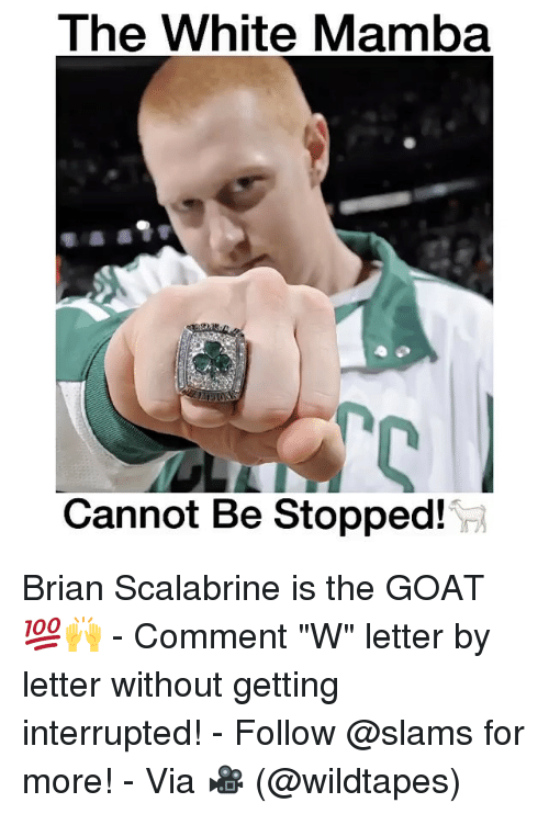 """Memes, Brian Scalabrine, and 🤖: The White Mamba  Cannot Be Stopped! Brian Scalabrine is the GOAT 💯🙌 - Comment """"W"""" letter by letter without getting interrupted! - Follow @slams for more! - Via 🎥 (@wildtapes)"""