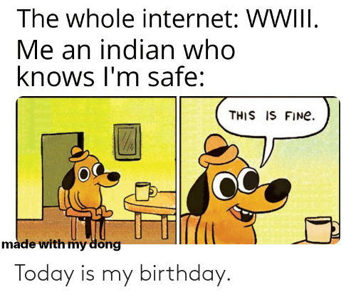 My Dong: The whole internet: WWIII.  Me an indian who  knows I'm safe:  THIS IS FINE.  made with my döng Today is my birthday.