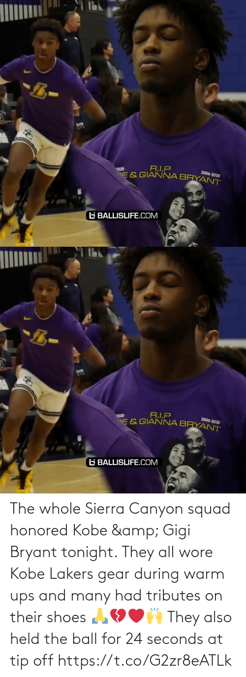 Tip: The whole Sierra Canyon squad honored Kobe & Gigi Bryant tonight. They all wore Kobe Lakers gear during warm ups and many had tributes on their shoes 🙏💔❤️🙌 They also held the ball for 24 seconds at tip off https://t.co/G2zr8eATLk