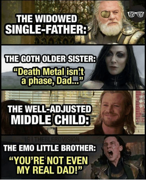 "Dad, Emo, and Memes: THE WIDOWED  SINGLE-FATHER  THE GOTH OLDERISISTER  Death Metal isnit  a phase, Dad...""  THE WELL-ADJUSTED  MIDDLE CHILD:  BLERDVISİON  THE EMO LITTLE BROTHER:  ""YOU'RE NOT EVEN  MY REAL DAD!"""