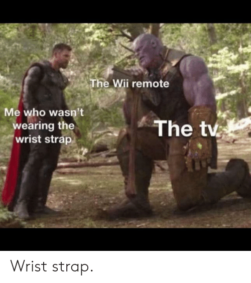 wii: The Wii remote  Me who wasn't  wearing the  wrist strap  The tv Wrist strap.