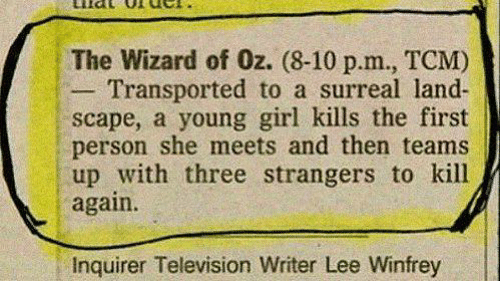surrealism: The Wizard of 0z. (8-10 p.m., TCM)  Transported to  a surreal land-  scape, a young girl kills the first  person she meets and then teams  up with three strangers to kill  again.  Inquirer Television Writer Lee Winfrey