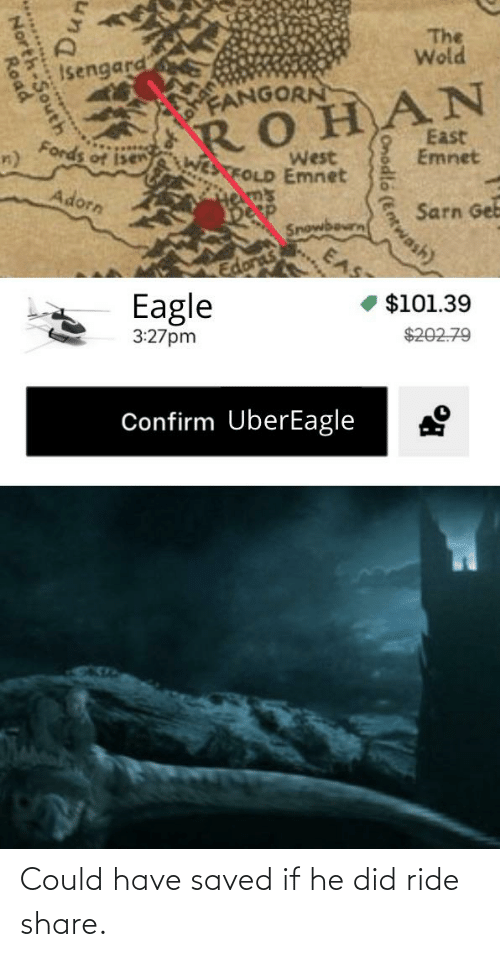 Fords: The  Wold  Isengard  FANGORN  ROHAN  East  Emnet  Fords of isen  West  WESTFOLD Emnet  Helm's  Desp  Adorn  Sarn Geb  Snowbourn  EAS  $101.39  Eagle  $202.79  3:27pm  Confirm UberEagle  Onodlo (Ent  Entwash)  un  D,  North-South  Road Could have saved if he did ride share.