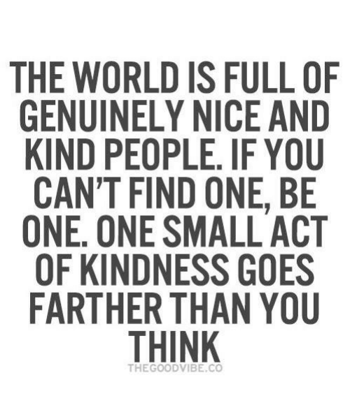 Kindness: THE WORLD IS FULL OF  GENUINELY NICE AND  KIND PEOPLE. IF YOU  CAN'T FIND ONE, BE  ONE. ONE SMALL ACT  OF KINDNESS GOES  FARTHER THAN YOU  THINK