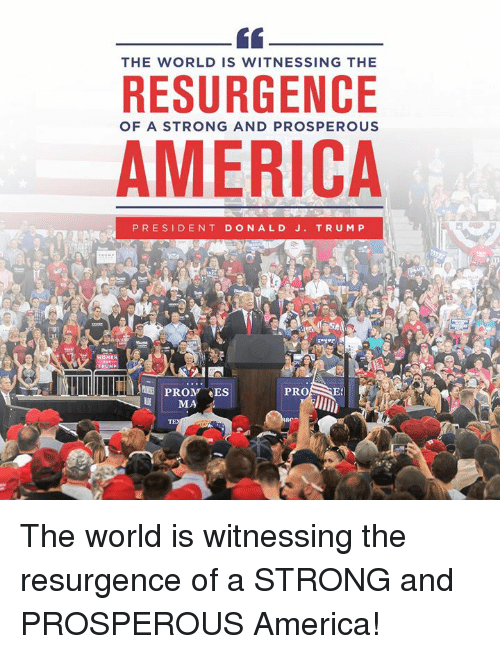 Prosperous: THE WORLD IS WITNESSING THE  RESURGENCE  OF A STRONG AND PROSPEROUS  AMERICA  PRESIDENT DONALD J. TRU MP  PROM ES  MA  PROSE The world is witnessing the resurgence of a STRONG and PROSPEROUS America!