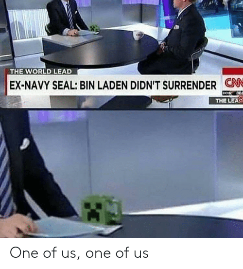 navy seal: THE WORLD LEAD  EX-NAVY SEAL: BIN LADEN DIDN'T SURRENDER CN  THE LEAS One of us, one of us