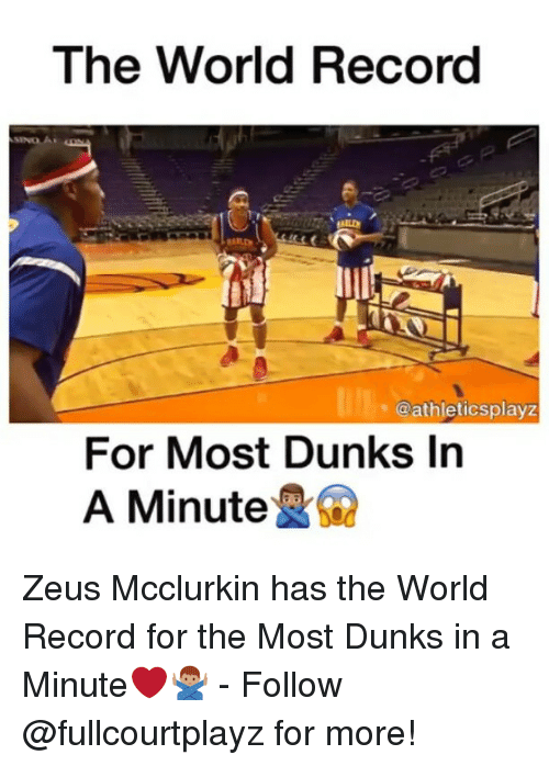 Memes, Record, and World: The World Record  @athletics playz  For Most Dunks In  A Minute  RG2 Zeus Mcclurkin has the World Record for the Most Dunks in a Minute❤️🙅🏽♂️ - Follow @fullcourtplayz for more!