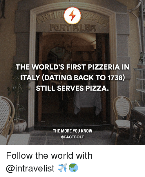 1738: THE WORLD'S FIRST PIZZERIA IN  ITALY (DATING BACK TO 1738)  STILL SERVES PIZZA  THE MORE YOU KNOW  @FACT BOLT Follow the world with @intravelist ✈️🌏