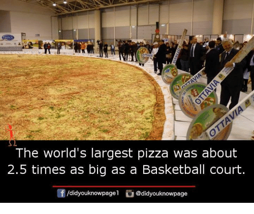 The world 39 s largest pizza was about 25 times as big as a for How big is a basketball court