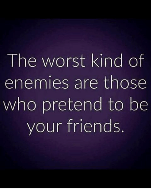 Friends, Memes, and The Worst: The worst kind of  enemies are those  who pretend to be  your friends.