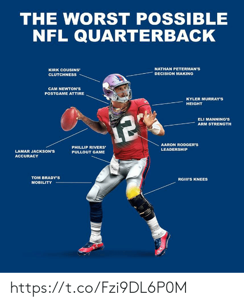 Pullout game: THE WORST POSSIBLE  NFL QUARTERBACK  NATHAN PETERMAN'S  KIRK COUSINs'  DECISION MAKING  CLUTCHNESS  CAM NEWTON'S  POSTGAME ATTIRE  KYLER MURRAY'S  HEIGHT  ELI MANNING'S  12  ARM STRENGTH  AARON RODGER'S  PHILLIP RIVERS'  LEADERSHIP  LAMAR JACKSON'S  PULLOUT GAME  ACCURACY  TOM BRADY'S  RGII'S KNEES  MOBILITY https://t.co/Fzi9DL6P0M
