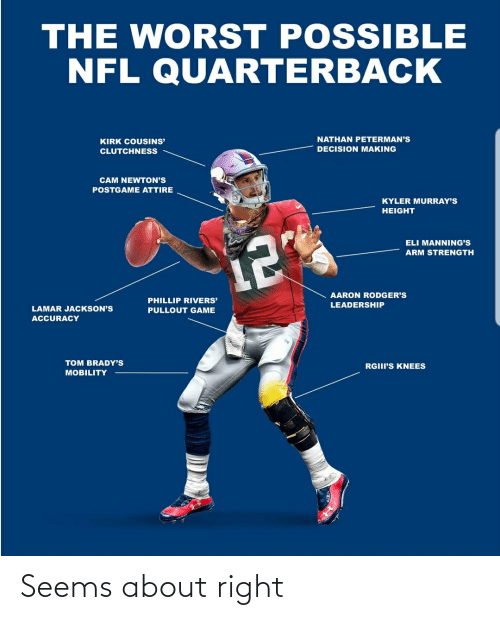 Aaron Rodgers: THE WORST POSSIBLE  NFL QUARTERBACK  NATHAN PETERMAN'S  KIRK COUSINS'  DECISION MAKING  CLUTCHNESS  CAM NEWTON'S  POSTGAME ATTIRE  KYLER MURRAY'S  HEIGHT  ELI MANNING'S  12  ARM STRENGTH  AARON RODGER'S  PHILLIP RIVERS'  LEADERSHIP  LAMAR JACKSON'S  PULLOUT GAME  ACCURACY  TOM BRADY'S  RGIII'S KNEES  MOBILITY Seems about right
