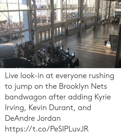 Irving: THE Y SEEn  126-129  226-23  327-330  220 Live look-in at everyone rushing to jump on the Brooklyn Nets bandwagon  after adding Kyrie Irving, Kevin Durant, and DeAndre Jordan https://t.co/PeSIPLuvJR