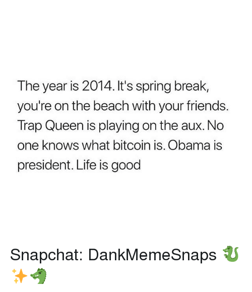 Friends, Life, and Memes: The year is 2014. It's spring break,  you're on the beach with your friends.  Trap Queen is playing on the aux.No  one knows what bitcoin is. Obama is  president. Life is good Snapchat: DankMemeSnaps 🐉✨🐲