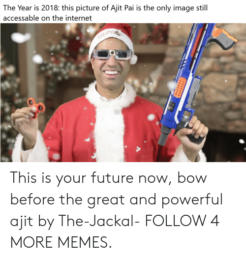 jackal: The Year is 2018: this picture of Ajit Pai is the only image still  accessable on the internet This is your future now, bow before the great and powerful ajit by The-Jackal- FOLLOW 4 MORE MEMES.