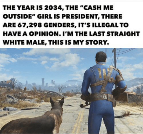 """Cash Me: THE YEAR IS 2034, THE """"CASH ME  OUTSIDE"""" GIRL IS PRESIDENT, THERE  ARE 67,298 GENDERS, IT'S ILLEGAL TO  HAVE A OPINION. I'M THE LAST STRAIGHT  WHITE MALE, THIS IS MY STORY."""
