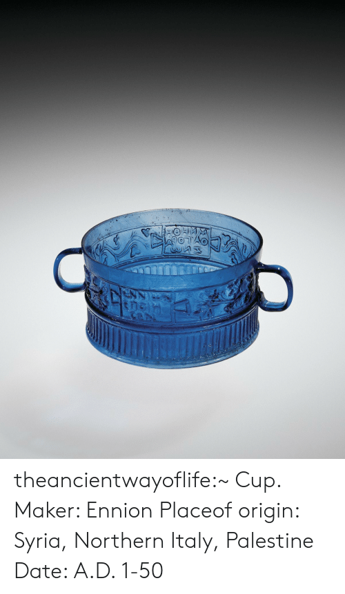 palestine: theancientwayoflife:~ Cup. Maker: Ennion Placeof origin: Syria, Northern Italy, Palestine Date: A.D. 1-50
