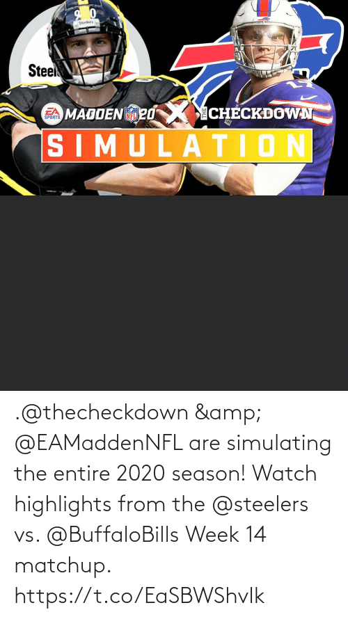 Steelers: .@thecheckdown & @EAMaddenNFL are simulating the entire 2020 season!  Watch highlights from the @steelers vs. @BuffaloBills Week 14 matchup. https://t.co/EaSBWShvIk