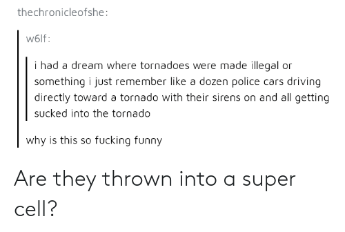 tornadoes: thechronicleofshe  W6lf:  i had a dream where tornadoes were made illegal or  something i just remember like a dozen police cars driving  directly toward a tornado with their sirens on and all getting  sucked into the tornado  why is this so fucking funny Are they thrown into a super cell?