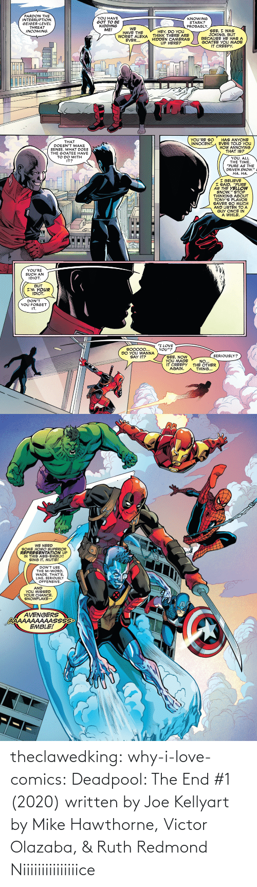 Comics: theclawedking: why-i-love-comics:   Deadpool: The End #1 (2020) written by Joe Kellyart by Mike Hawthorne, Victor Olazaba, & Ruth Redmond    Niiiiiiiiiiiiiiice