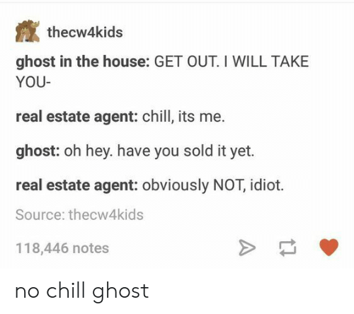 real estate agent: thecw4kids  ghost in the house: GET OUT. I WILL TAKE  YOU  real estate agent: chill, its me.  ghost: oh hey. have you sold it yet.  real estate agent: obviously NOT, idiot.  Source: thecw4kids  118,446 notes no chill ghost