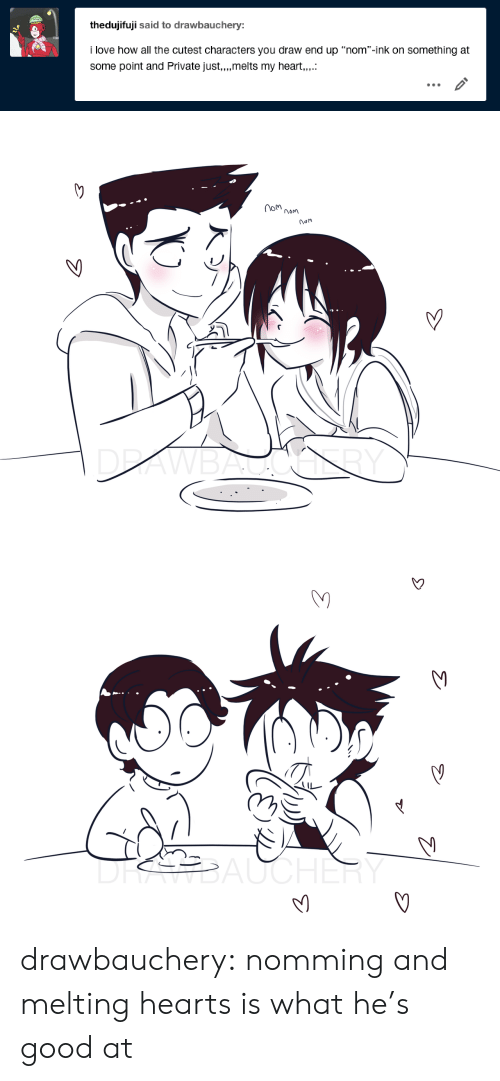 """ink: thedujifuji said to drawbauchery:  i love how all the cutest characters you draw end up """"nom""""-ink on something at  some point and Private just,.,melts my heart,.   om  nom  nam  DRAWBALGALY   DRSBAUCHER drawbauchery:  nomming and melting hearts is what he's good at"""