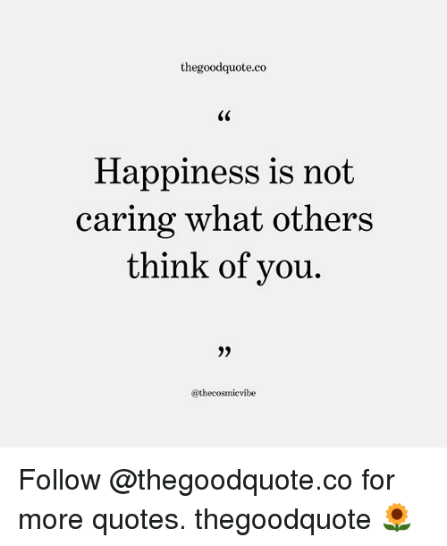Memes, Quotes, and Happiness: thegoodquote.co  Happiness is not  caring what others  ou.  @thecosmicvibe Follow @thegoodquote.co for more quotes. thegoodquote 🌻