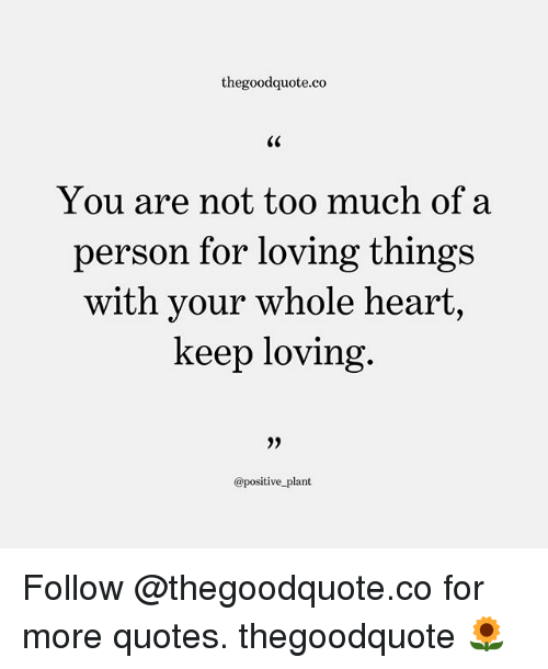 Too Much: thegoodquote.co  You are not too much of a  person for loving thing:s  with your whole heart,  keep loving  @positive plant Follow @thegoodquote.co for more quotes. thegoodquote 🌻