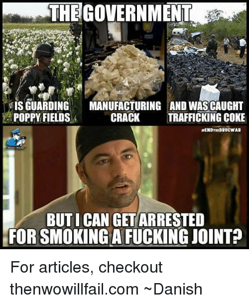Memes, Poppies, and 🤖: THEGOVERNMENT  IS GUARDING  MANUFACTURING AND WASCAUGHT  POPPY FIELDS  s CRACK  TRAFFICKING COKE  RENDTHEDRUCWAR  BUT I CAN GET ARRESTED  FORSMOKING A FUCKING JOINT For articles, checkout thenwowillfail.com  ~Danish