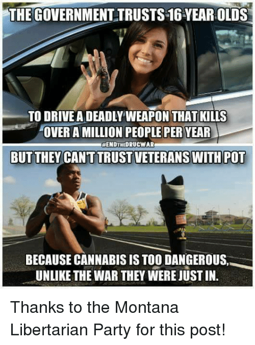 libertarian party: THEGOVERNMENTTRUSTS16YEAR OLDS  TO DRIVE A DEADLYWEAPON THAT KILLS  OVER A MILLION PEOPLE PER YEAR  ENDTHEDRUCWAR  BUT THEY CANT TRUST VETERANS WITH POT  BECAUSE CANNABIS IS TOO DANGEROUS  UNLIKE THE WAR THEY WERE JUSTIN. Thanks to the Montana Libertarian Party for this post!