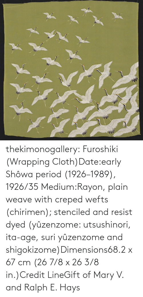 Credit: thekimonogallery: Furoshiki (Wrapping Cloth)Date:early Shôwa period (1926–1989), 1926/35 Medium:Rayon, plain weave with creped wefts (chirimen); stenciled and resist dyed (yûzenzome: utsushinori, ita-age, suri yûzenzome and shigokizome)Dimensions68.2 x 67 cm (26 7/8 x 26 3/8 in.)Credit LineGift of Mary V. and Ralph E. Hays