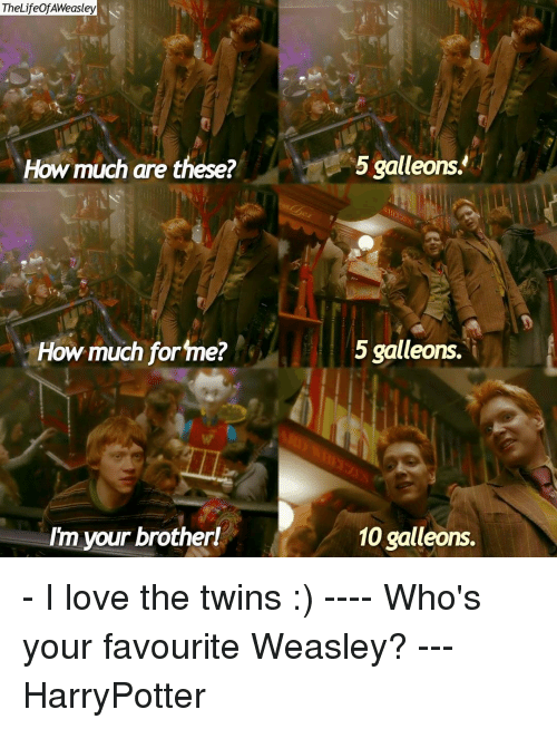 Memes, Twins, and 🤖: TheLife of AWeasley  How much are these?  How much for me?  Im your brotherl  5 galleons.  5 galleons.  10 galleons. - I love the twins :) ---- Who's your favourite Weasley? --- HarryPotter