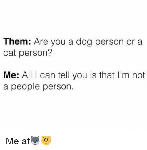 Af, Memes, and 🤖: Them: Are you a dog person or a  cat person?  Me: All I can tell you is that I'm not  a people person. Me af🐺😼