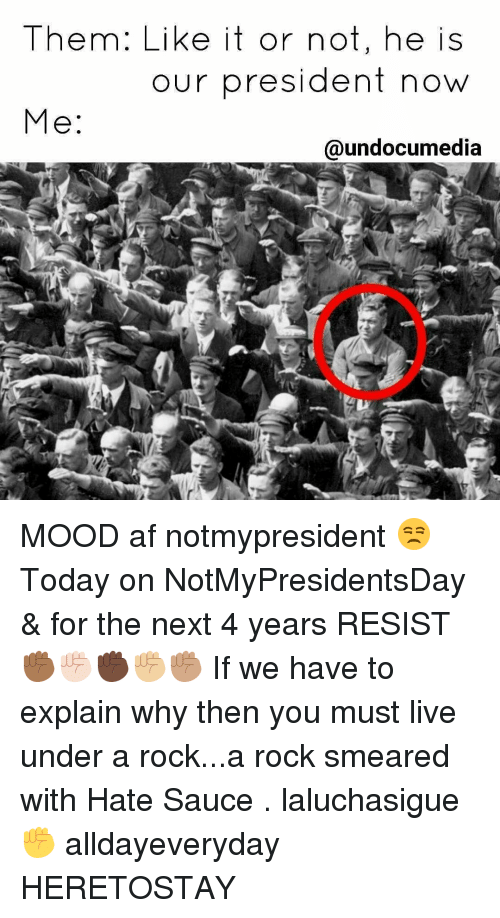 Af, Memes, and Mood: Them: Like it or not, he is  our president now  Me  @undocumedia MOOD af notmypresident 😒 Today on NotMyPresidentsDay & for the next 4 years RESIST ✊🏾✊🏻✊🏿✊🏼✊🏽 If we have to explain why then you must live under a rock...a rock smeared with Hate Sauce . laluchasigue ✊ alldayeveryday HERETOSTAY