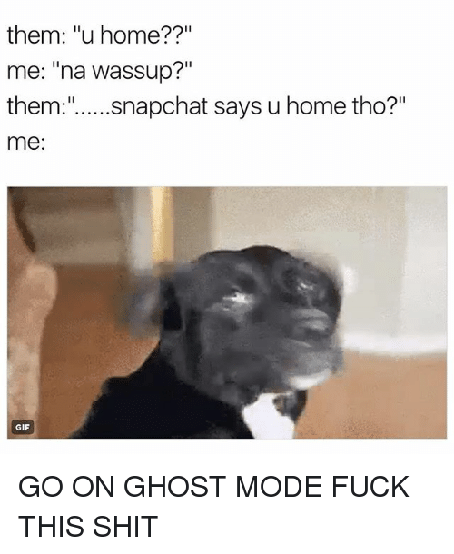 "Gif, Shit, and Snapchat: them: ""u home?  me: na Wassup?""  them  snapchat says u home tho?  me  GIF GO ON GHOST MODE FUCK THIS SHIT"