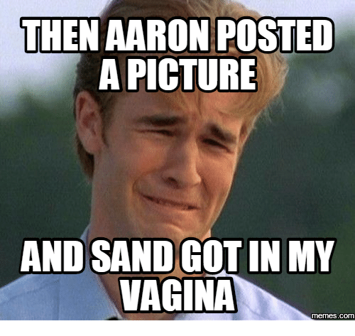 Aaron, Aarons, and  Sands: THEN AARON POSTED  A PICTURE  AND SAND GOTIN MY  VAGINA  memes COM
