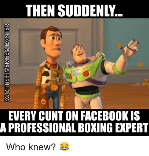 Boxing, Facebook, and Memes: THEN SUDDENLY..  EVERY CUNT ON FACEBOOK IS  A PROFESSIONAL BOXING EXPERT Who knew? 😂