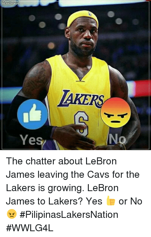 Cavs, Los Angeles Lakers, and LeBron James: THENERSEYSWAPS  Yes The chatter about LeBron James leaving the Cavs for the Lakers is growing.  LeBron James to Lakers? Yes 👍 or No 😠  #PilipinasLakersNation #WWLG4L