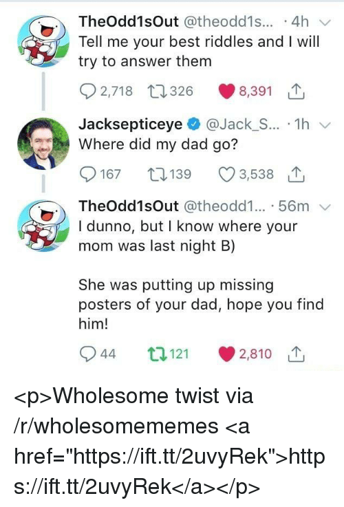 "Dad, Best, and Wholesome: TheOdd1sOut @theodd1s... .4h  Tell me your best riddles and I will  try to answer them  2,718 t26 8,391  JacksepticeyeJack_S... 1h  Where did my dad go?  167 19  3,538 1  TheOdd1sOut @theodd1... 56m  I dunno, but I know where your  mom was last night B)  She was putting up missing  posters of your dad, hope you find  him!  944 t121  2,810 1 <p>Wholesome twist via /r/wholesomememes <a href=""https://ift.tt/2uvyRek"">https://ift.tt/2uvyRek</a></p>"