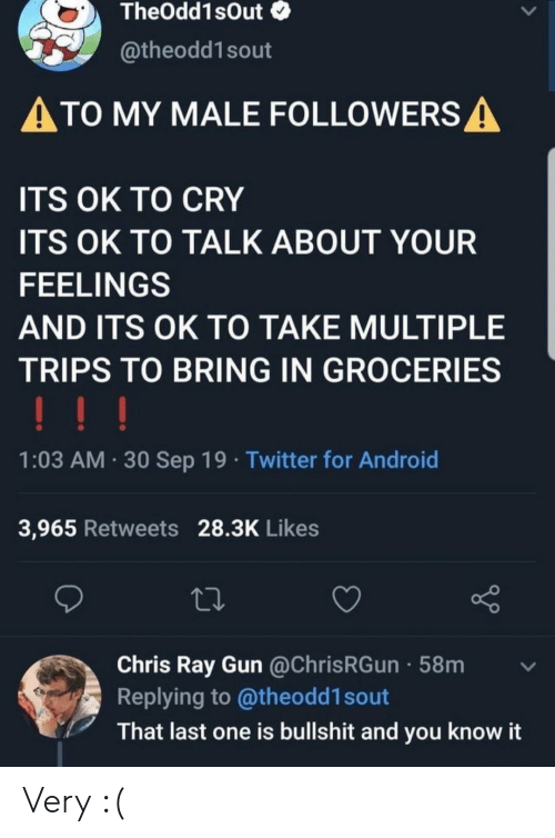 groceries: TheOdd1sOut  @theodd1sout  ATO MY MALE FOLLOWERS A  ITS OK TO CRY  ITS OK TO TALK ABOUT YOUR  FEELINGS  AND ITS OK TO TAKE MULTIPLE  TRIPS TO BRING IN GROCERIES  !!!  1:03 AM 30 Sep 19 Twitter for Android  3,965 Retweets 28.3K Likes  Chris Ray Gun @ChrisRGun 58m  Replying to @theodd1 sout  That last one is bullshit and you know it Very :(