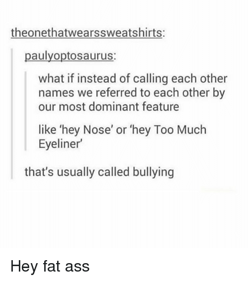 Ass, Fat Ass, and Memes: theonethatwearssweatshirts:  paulyoptosaurus:  what if instead of calling each other  names we referred to each other by  our most dominant feature  like 'hey Nose' or 'hey Too Much  Eyeliner  that's usually called bullying Hey fat ass