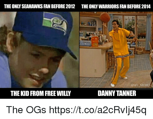 Seahawks Fan: THEONLY SEAHAWKS FAN BEFORE 2012 THE ONLY WARRIORS FAN BEFORE2014  @NFL MEMES  DANNY TANNER  THE KID FROM FREE WILL The OGs https://t.co/a2cRvIj45q