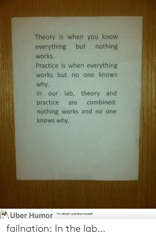 Lab: Theory is when you know  everything but nothing  works.  Practice is when everything  works but no one knows  why.  In our lab, theory and  practice are combined:  nothing works and no one  knows why.  Uber Humor  I'm afraid I just blue myself. failnation:  In the lab…