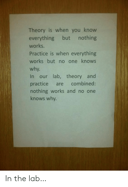 Lab: Theory is when you know  everything but  nothing  works.  Practice is when everything  works but no one knows  why.  In our lab, theory and  combined:  practice  are  nothing works and no one  knows why. In the lab…
