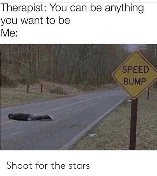 bump: Therapist: You can be anything  you want to be  Me:  SPEED  BUMP Shoot for the stars