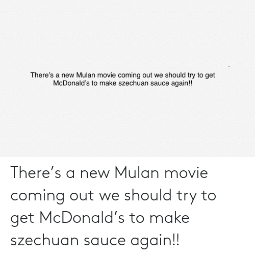 Mulan: There's a new Mulan movie coming out we should try to get McDonald's to make szechuan sauce again!!