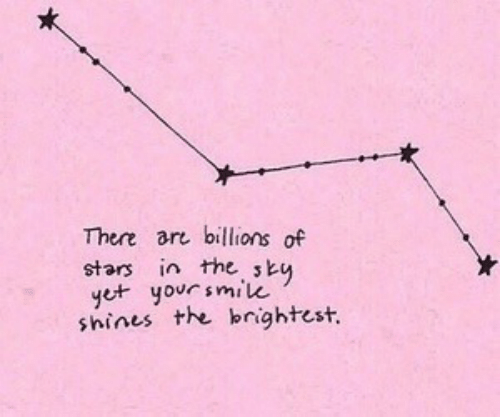 Shines: There ar billions of  stars in the sk  e yorsmilu  shines the bnightest