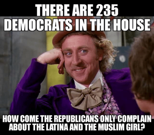 latina: THERE ARE 235  DEMOCRATS IN THE HOUSE  HOW COME THE REPUBLICANS ONLY COMPLAIN  ABOUT THE LATINA AND THE MUSLIM GIRL?