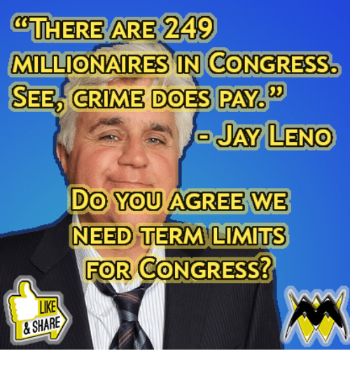 millionaires: THERE ARE 249  MILLIONAIRES IN CONGRESS.  SEED CRIME DOES PAY  03  AY LENO  Do You AGREE WE  NEED TERM LIMITs  FOR CONGRESS?  0  LIKE  &SHARE